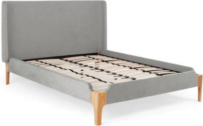 An Image of Roscoe Super King Size Bed, Cool Grey & Oak Legs