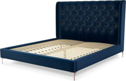 An Image of Custom MADE Romare Super King size Bed, Regal Blue Velvet with Copper Legs