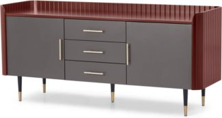 An Image of Lali Large Sideboard, Mid Grey & Mahogany Red