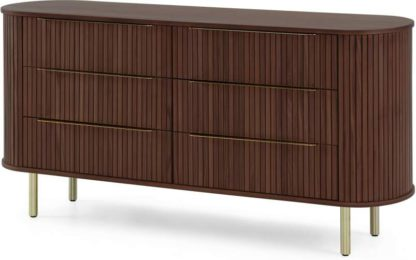 An Image of Tambo Wide Chest of Drawers, Walnut & Brass