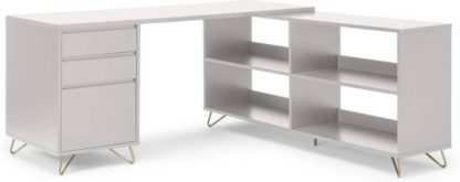 An Image of Elona Corner Desk with Open Sideboard, Ivory White & Brass