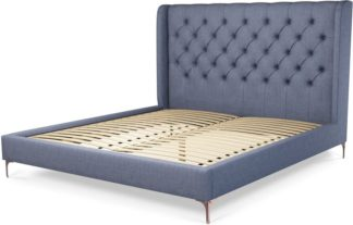 An Image of Custom MADE Romare Super King size Bed, Denim Cotton with Copper Legs