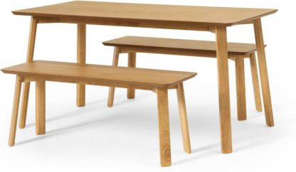 An Image of Asuna Dining Table and Bench Set, Oak