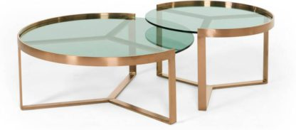An Image of Aula Nesting Coffee Table, Brushed Copper and Green Glass
