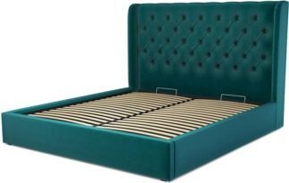 An Image of Custom MADE Romare Super King size Bed with Ottoman, Tuscan Teal Velvet