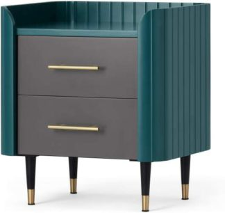 An Image of Lali Bedside Table, Teal & Brass