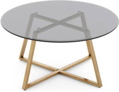 An Image of Haku Coffee Table, Brass and Smoked Glass