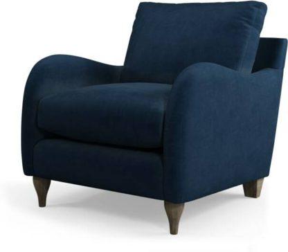 An Image of Custom MADE Sofia Armchair, Plush Indigo Velvet with Light Wood Leg
