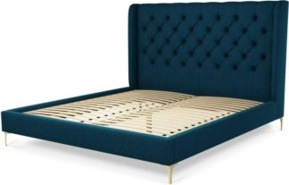 An Image of Custom MADE Romare Super King size Bed, Navy Wool with Brass Legs