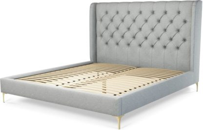 An Image of Custom MADE Romare Super King size Bed, Wolf Grey Wool with Brass Legs