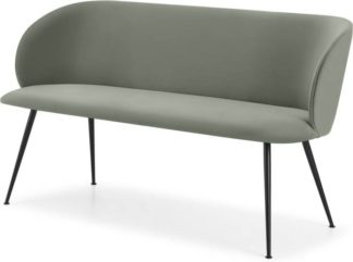 An Image of Adeline Dining Bench, Sage Green Velvet & Black