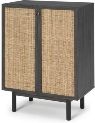 An Image of Pavia Compact Highboard, Natural Rattan & Black Wood Effect