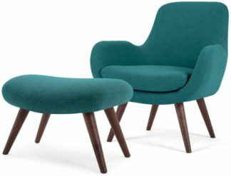 An Image of Moby Accent Armchair and Footstool, Mineral Blue
