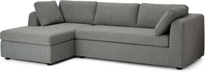An Image of Mogen Left Hand Facing Chaise End Sofa Bed, Steel Boucle