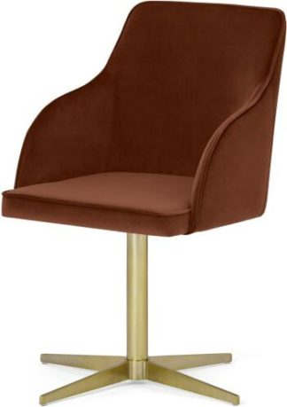 An Image of Keira Office Chair, Warm Caramel Velvet & Brass