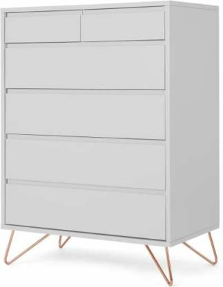 An Image of Elona Tall Multi Chest of Drawers, Light Grey & Copper