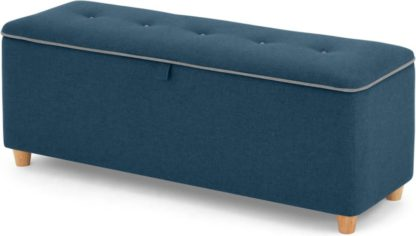 An Image of Burcot Upholstered Ottoman Storage Bench, Blue With Contrast Piping