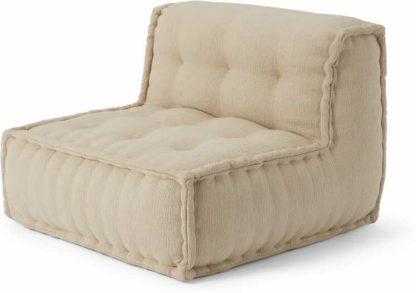 An Image of Sully Modular Large Floor Cushion, Oatmeal Cotton Slub