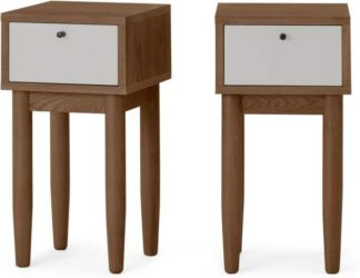 An Image of Campton Compact Set of 2 Bedside Tables, Dark Stain Oak & Grey