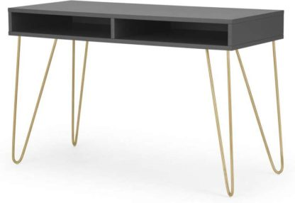 An Image of Elona Console Desk, Charcoal & Brass