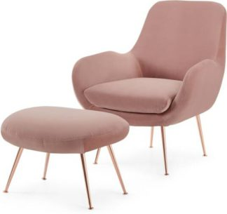 An Image of Moby Accent Armchair and Footstool, Vintage Pink Velvet