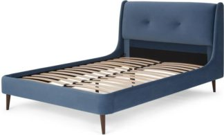 An Image of Raffety Double Bed, Dawn Blue Velvet