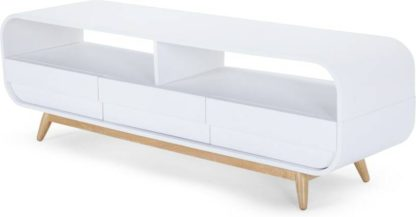 An Image of Esme Wide TV Stand, White and Ash