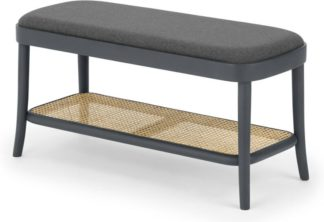 An Image of Raleigh Storage Bench, Rattan and Charcoal