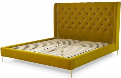 An Image of Custom MADE Romare Super King size Bed, Saffron Yellow Velvet with Brass Legs