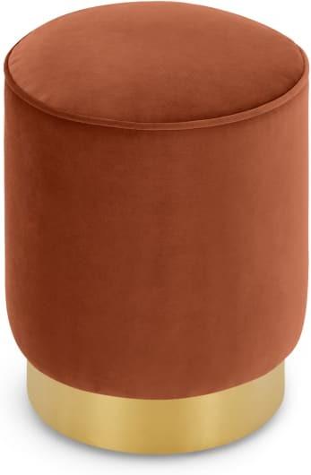 An Image of Hetherington Small Brass Base Pouffe, Nutmeg Orange Velvet
