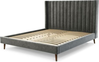 An Image of Custom MADE Cory Super King size Bed, Steel Grey Velvet with Walnut Stained Oak Legs