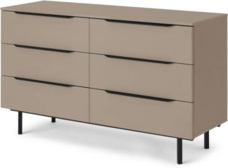 An Image of Damien Wide Chest of Drawers, Cappuccino & Black