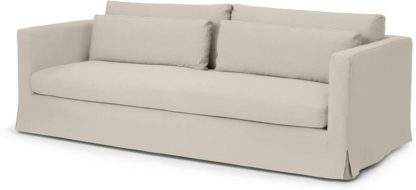 An Image of Arabelo 3 Seater Loose Cover Sofa, Natural Cotton & Linen Mix Fabric