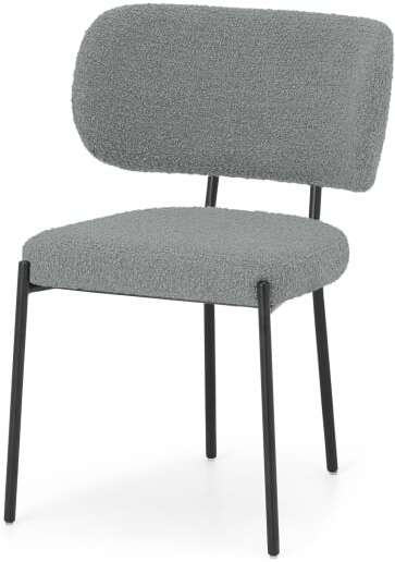 An Image of Asare Dining Chair, Steel Boucle & Black Leg