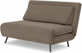 An Image of Kahlo Double Seat Sofa Bed, Taupe Corduroy Velvet