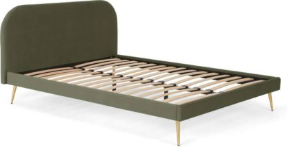 An Image of Eulia King Size Bed, Sycamore Green Velvet & Brass Legs