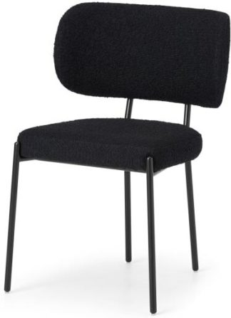 An Image of Asare Dining Chair, Black Boucle with Black Leg