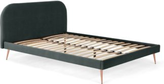 An Image of Eulia Double Bed, Midnight Grey Velvet & Copper Legs