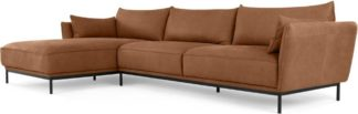 An Image of Odelle Left Hand Facing Chaise End Corner Sofa, Texas Tan Leather