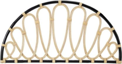 An Image of Tapu Double Headboard, Half Moon, Black and Natural Rattan