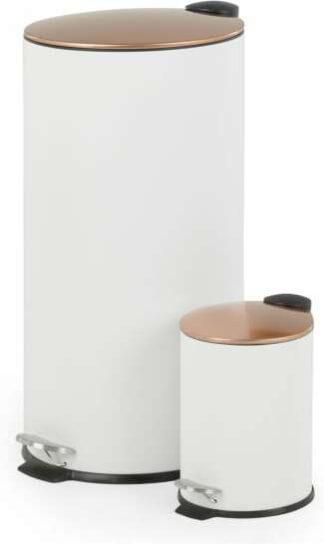 An Image of Cross Flat Top 27L & 3L Pedal Bin, White & Copper