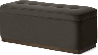 An Image of Lavelle Ottoman Bench with Walnut Stain Plinth, Otter Velvet