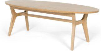 An Image of Jenson Oval Coffee Table, Solid Oak