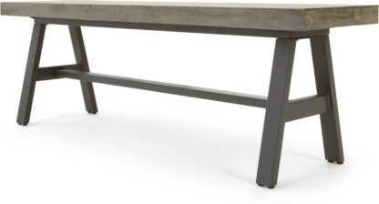 An Image of Edson Garden Dining Bench, Grey and Black