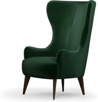 An Image of Bodil Accent Armchair, Bottle Green Velvet with Dark Wood Leg