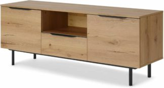 An Image of Damien Wide Media Unit, Distressed Oak Effect & Black