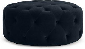 An Image of Hampton Large Round Pouffe, Twilight Blue Velvet