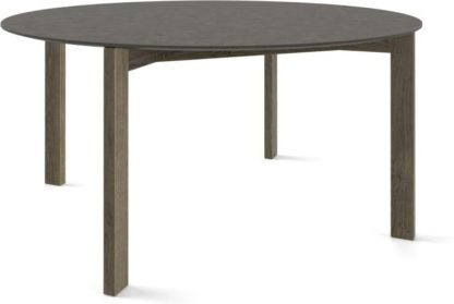 An Image of Custom MADE Niven 8 Seat Round Dining Table, Concrete and Smoked Oak