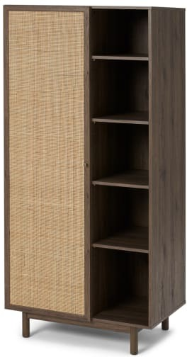 An Image of Pavia Double Wardrobe, Natural Rattan & Walnut Effect