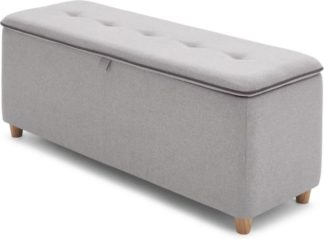 An Image of Burcot Upholstered Ottoman Storage Bench, Contrast Grey